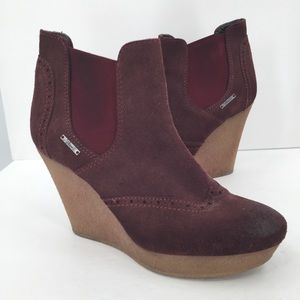 Diesel Denver brown suede wedge ankle boots 40 9